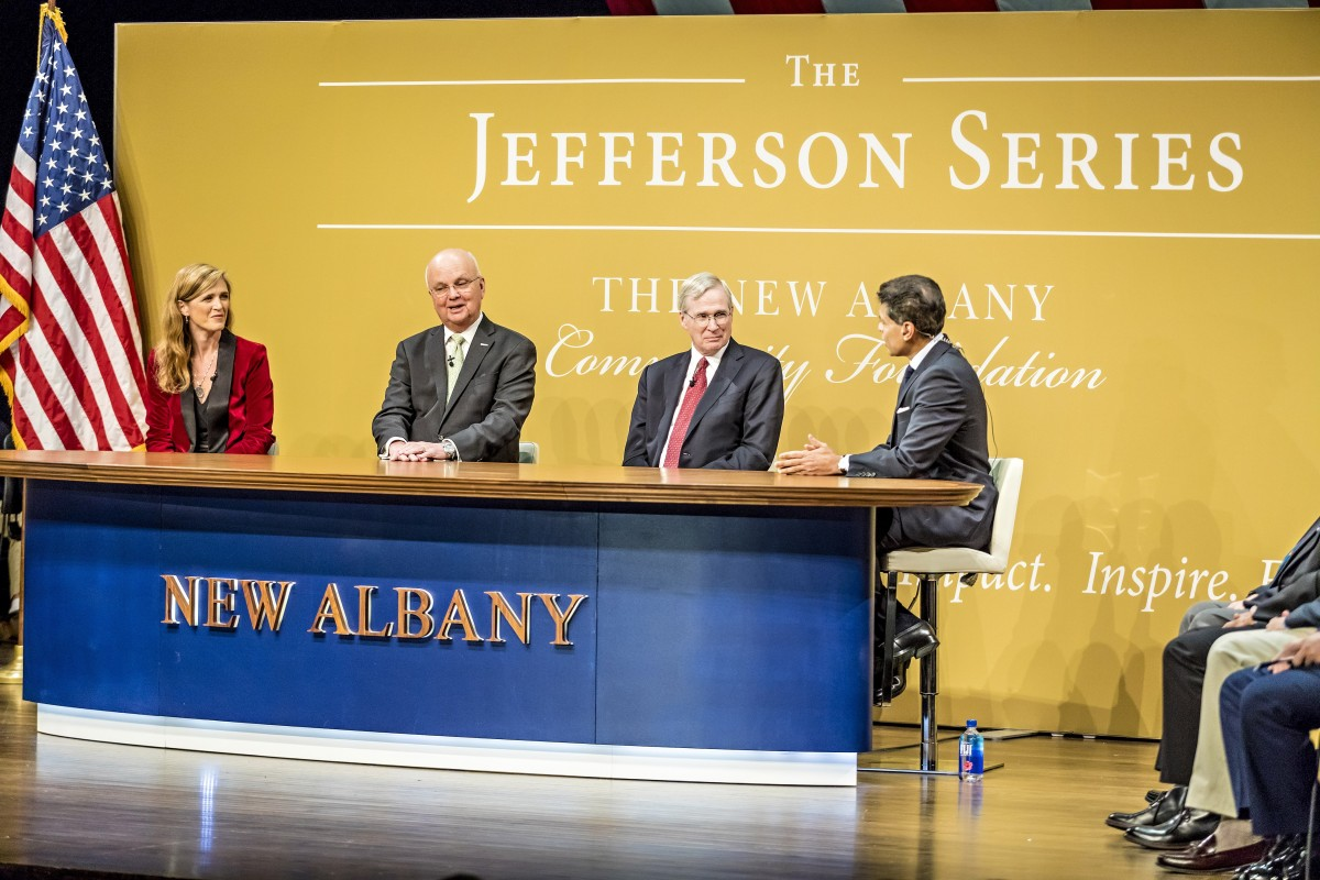 A photograph of Stephen Hadley, General Michael Hayden and Samantha Power at a Jefferson Series Town Hall Lecture.
